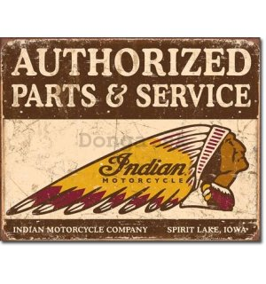 Plechová ceduľa - Indian (Authorized Parts & Service)