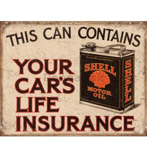 Plechová ceduľa - This Can Contains Your Car's Life Insurance