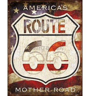 Plechová ceduľa - Route 66 (America's Mother Road)