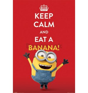 Plagát - Mimoni (Keep Calm and Eat Banana!)