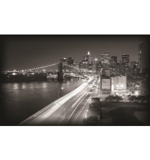 Fototapeta: Čiernobiely Brooklyn Bridge (1) - 254x368 cm