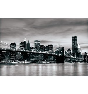 Fototapeta: Brooklyn Bridge (čiernobiely) - 254x368 cm