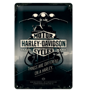 Plechová ceduľa - Harley-Davidson (Things Are Different on a Bike)