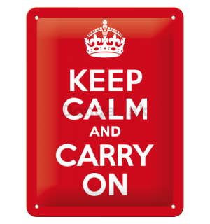Plechová ceduľa: Keep Calm and Carry On - 20x15 cm