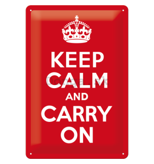Plechová ceduľa: Keep Calm and Carry On - 30x20 cm