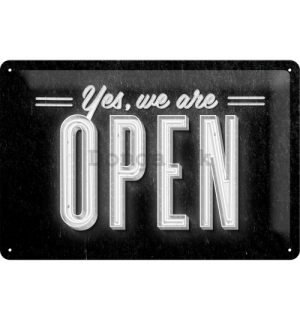 Plechová ceduľa - We Are Open