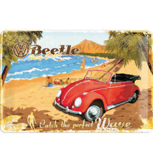 Plechová ceduľa – VW Beetle Ready for the Beach