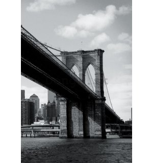 Fototapeta: Čiernobiely Brooklyn Bridge (4) - 158x232 cm