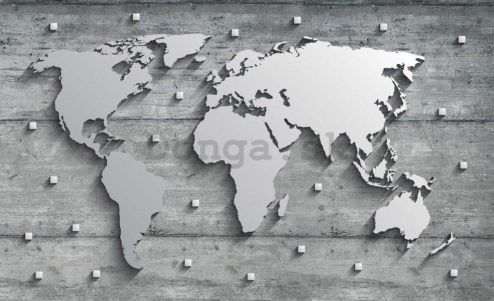 Fototapeta Kovova Mapa Sveta 254x368 Cm Donga