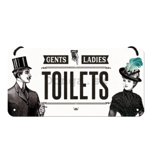 Závesná ceduľa: Gents and Ladies Toilets - 10x20 cm