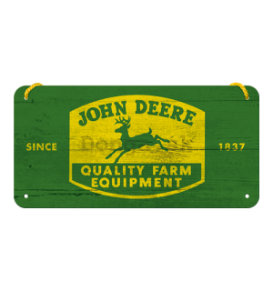 Závesná ceduľa: John Deere (Quality Farm Equipment) - 10x20 cm