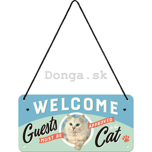 Závesná ceduľa: Welcome Guests Cat - 10x20 cm