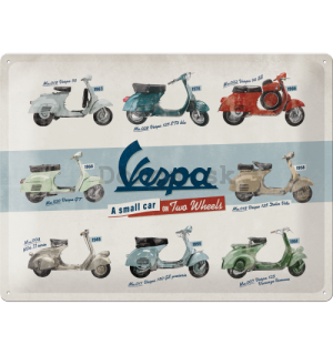 Plechová ceduľa: Vespa (A Small Car on Two Wheels) - 40x30 cm