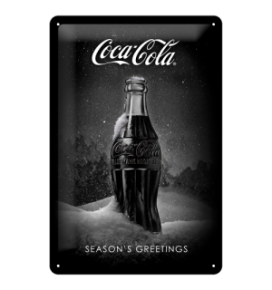 Plechová ceduľa: Coca-Cola Black Special Edition (Season's Greetings) - 30x20 cm