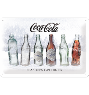 Plechová ceduľa: Coca-Cola White Special Edition (Season's Greetings) - 30x20 cm