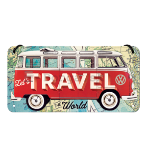 Závesná ceduľa: VW Bulli (Let's Travel The World) - 10x20 cm