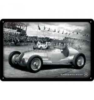 Plechová ceduľa: Mercedes-Benz Silver Arrow Racing - 20x30 cm