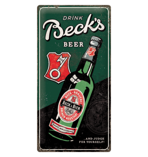 Plechová ceduľa: Beck's (Drink Beer Bottle) - 50x25 cm