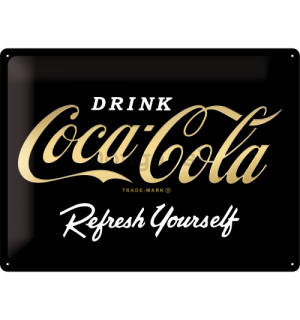 Plechová ceduľa: Coca-Cola Refresh Yourself (Special Black Edition) - 30x40 cm