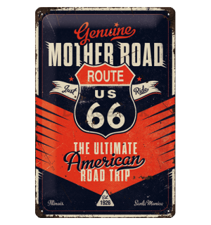 Plechová ceduľa: Route 66 (The Ultimate Road Trip) - 20x30 cm