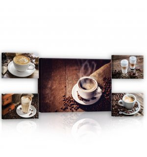 Obraz na plátne: Coffee break - set 1ks 70x50 cm a 4ks 32,4x22,8 cm