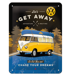 Plechová ceduľa: VW Bulli Let's Get Away (Night) - 15x20 cm