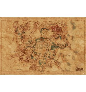 Plagát - The Legend Of Zelda: Breath Of The Wild (Hyrule World Map)