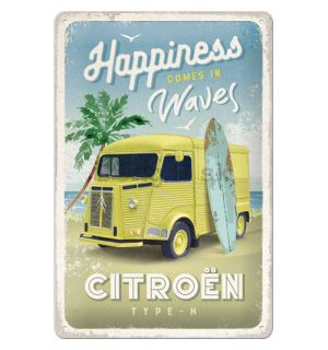 Plechová ceduľa: Citroën Type H (Happiness Comes In Waves) - 20x30 cm