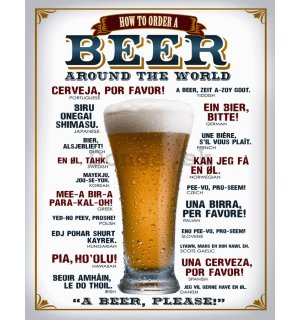 Plechová ceduľa - Beer (around the world)